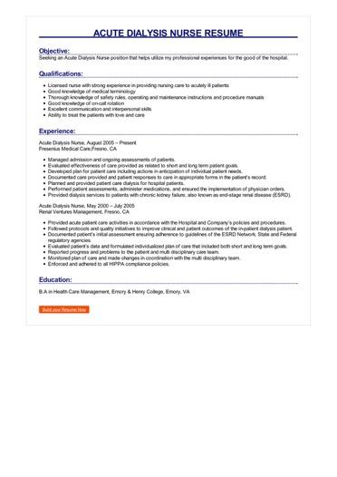 Acute Dialysis Nurse Resume Great Sample Resume