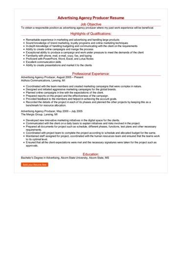 Advertising Agency Producer Resume Great Sample Resume