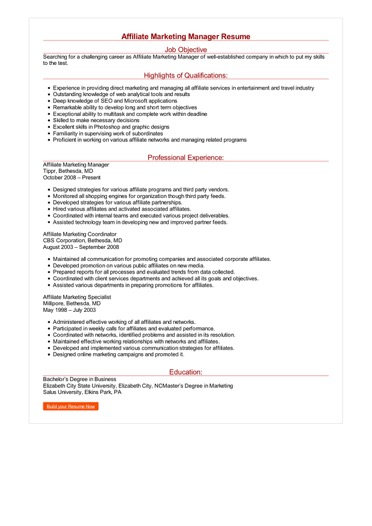 Affiliate Marketing Manager Resume Great Sample Resume