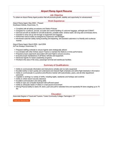 Airport Ramp Agent Resume Great Sample Resume