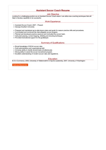 Assistant Soccer Coach Resume Great Sample Resume