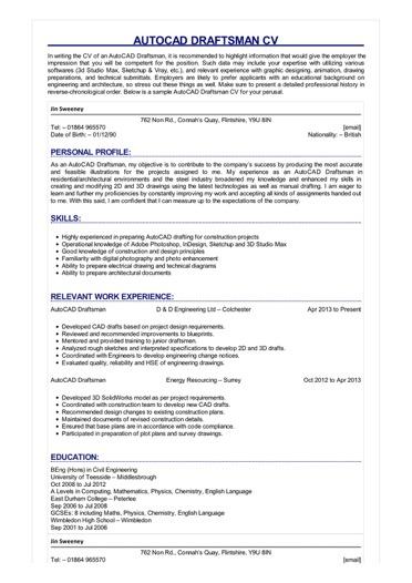 AutoCAD Draftsman CV Great Sample Resume