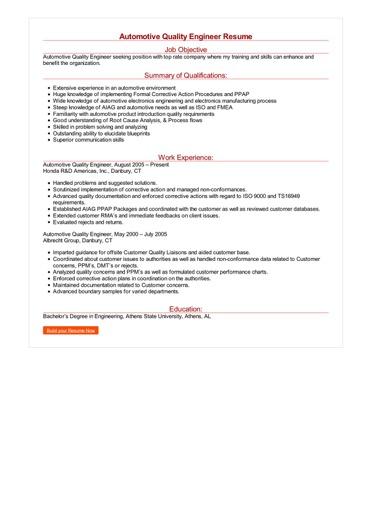 Automotive Quality Engineer Resume Great Sample Resume