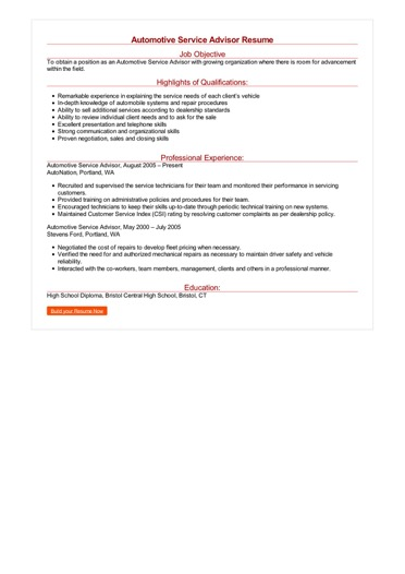 Automotive Service Advisor Resume Great Sample Resume