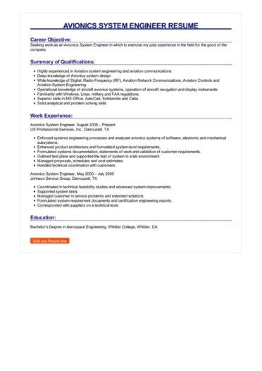 Avionics System Engineer Resume Great Sample Resume