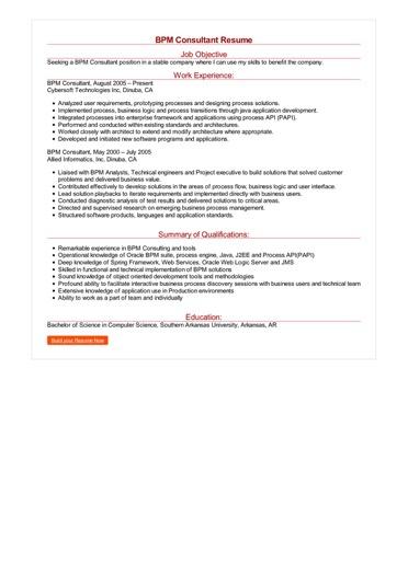 BPM Consultant Resume Great Sample Resume