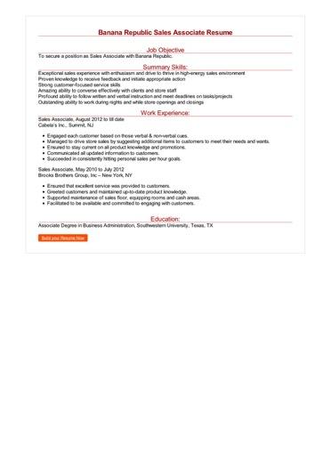 Banana Republic Sales Associate Resume Great Sample Resume