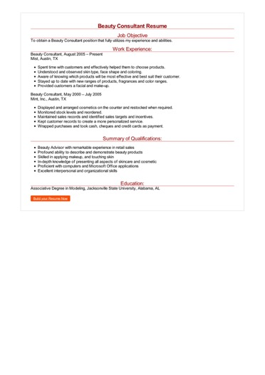 Beauty Consultant Resume Great Sample Resume