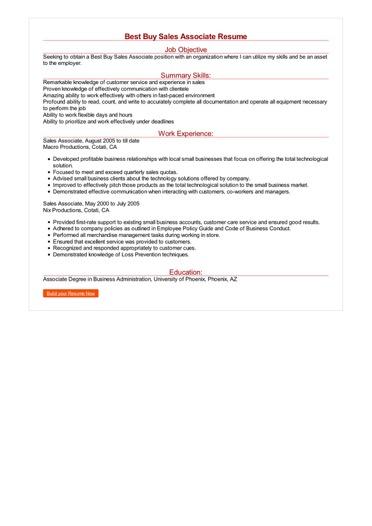 Best Buy Sales Associate Resume Great Sample Resume