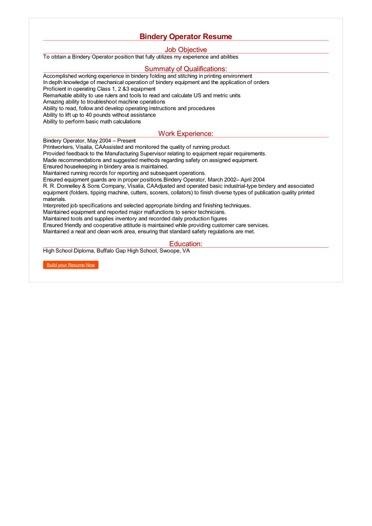 Bindery Operator Resume Great Sample Resume