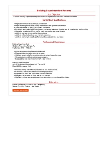 Building Superintendent Resume Great Sample Resume