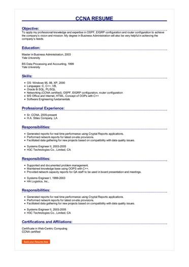 CCNA Resume Great Sample Resume