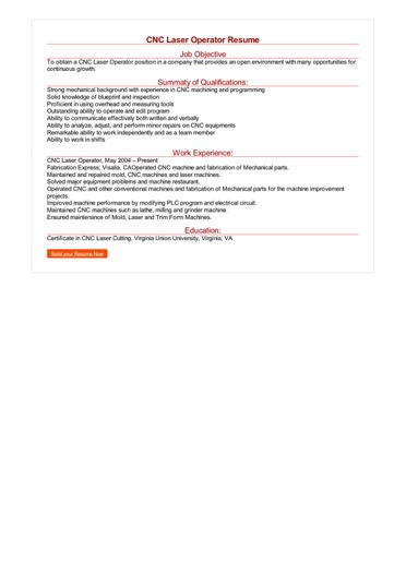 CNC Laser Operator Resume Great Sample Resume