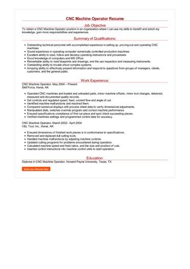 CNC Machine Operator Resume Great Sample Resume