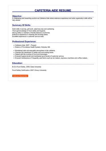Cafeteria Aide Resume Great Sample Resume