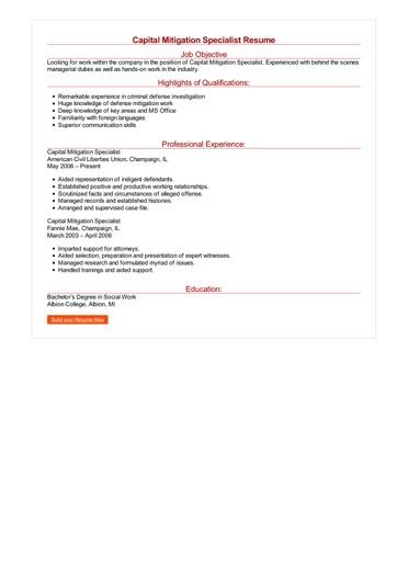 Capital Mitigation Specialist Resume Great Sample Resume
