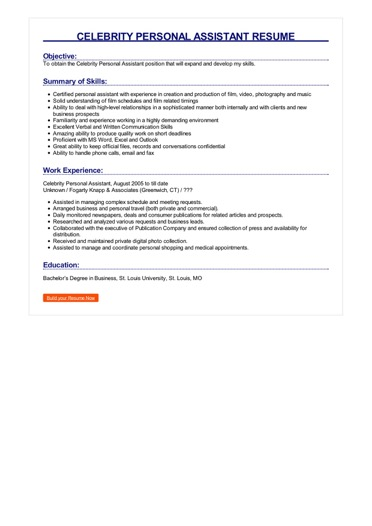 Celebrity Personal Assistant Resume Great Sample Resume