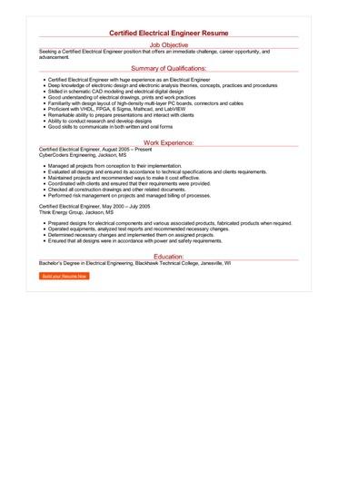 Certified Electrical Engineer Resume Great Sample Resume