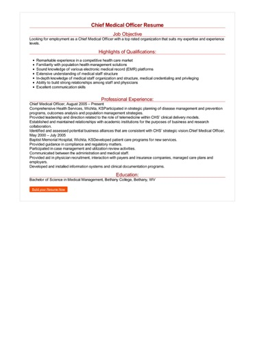 Chief Medical Officer Resume Great Sample Resume
