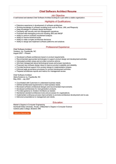 Chief Software Architect Resume Great Sample Resume