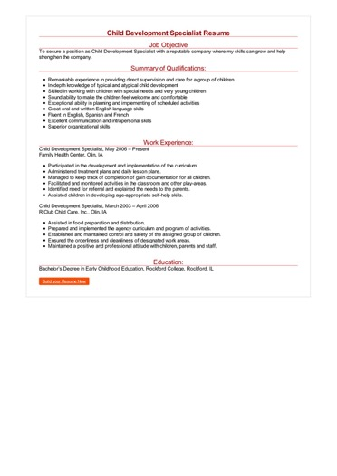 Child Development Specialist Resume Great Sample Resume