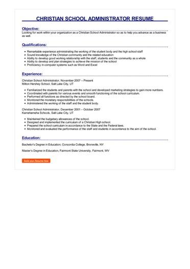 Christian School Administrator Resume Great Sample Resume
