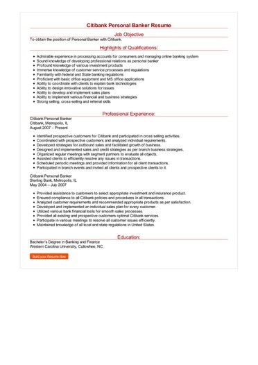 Citibank Personal Banker Resume Great Sample Resume