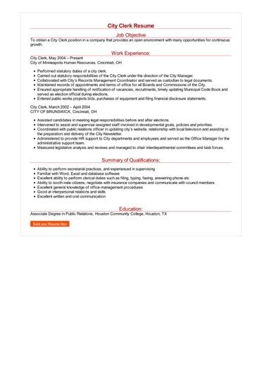 Clerk Resume Images