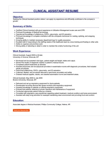 Clinical Assistant Resume Great Sample Resume