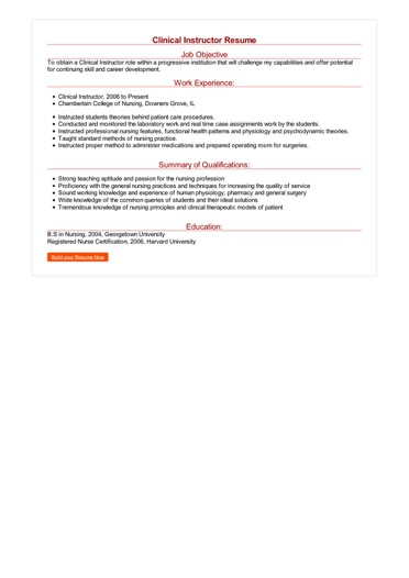 Clinical Instructor Resume Great Sample Resume