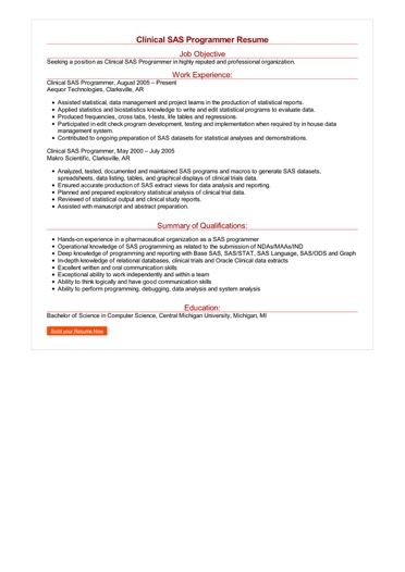 Clinical SAS Programmer Resume Great Sample Resume