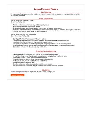 Cognos Developer Resume Great Sample Resume