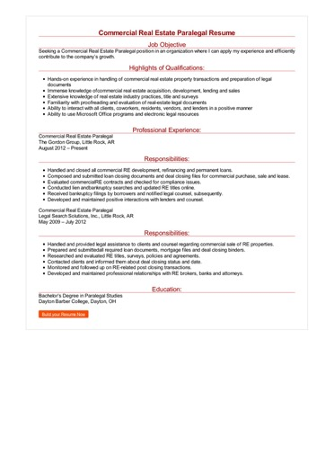 Commercial Real Estate Paralegal Resume Great Sample Resume
