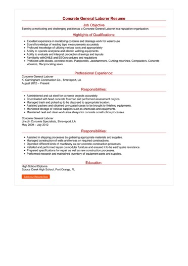 Concrete General Laborer Resume Great Sample Resume