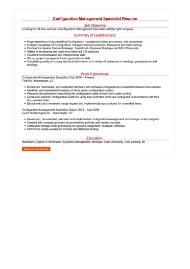 Configuration Management Specialist Resume Great Sample Resume