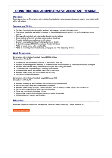 Construction Administrative Assistant Resume Great Sample Resume