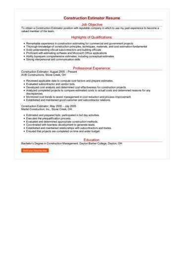 Construction Estimator Resume Great Sample Resume
