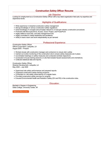 Construction Safety Officer Resume Great Sample Resume