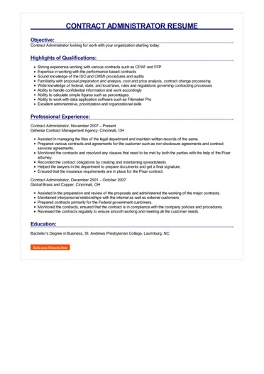 Contract Administrator Resume Great Sample Resume