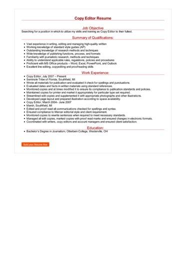 Copy Editor Resume Great Sample Resume