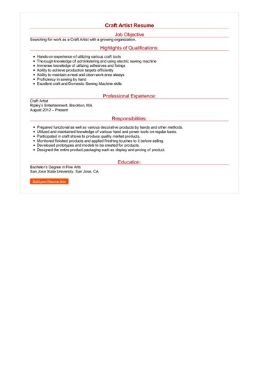 Craft Artist Resume Great Sample Resume