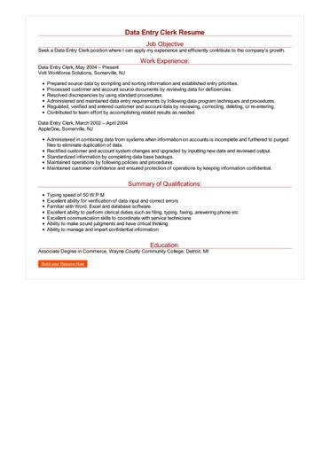Data Entry Clerk Resume Great Sample Resume