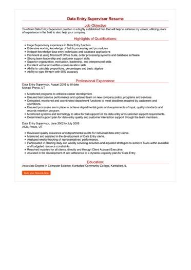 Data Entry Supervisor Resume Great Sample Resume