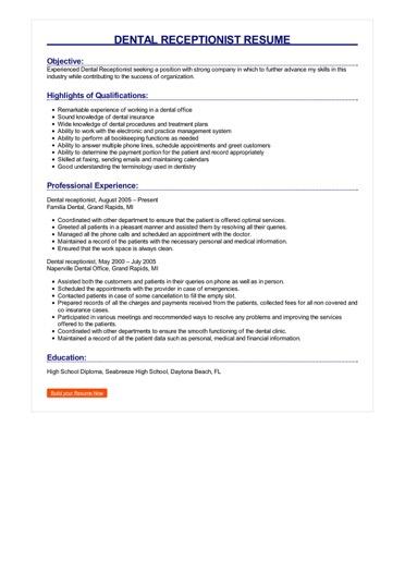 Dental Receptionist Resume Great Sample Resume