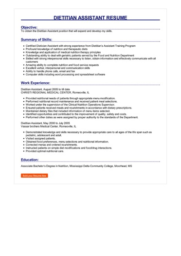 Dietitian Assistant Resume Great Sample Resume