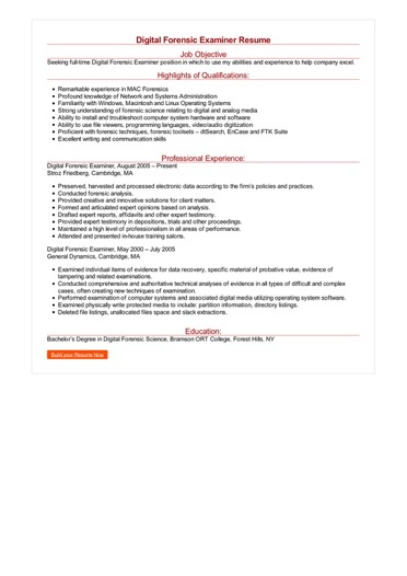 Digital Forensic Examiner Resume Great Sample Resume