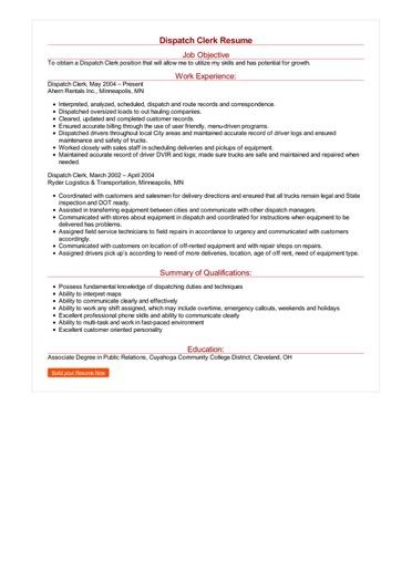 Dispatch Clerk Resume Great Sample Resume