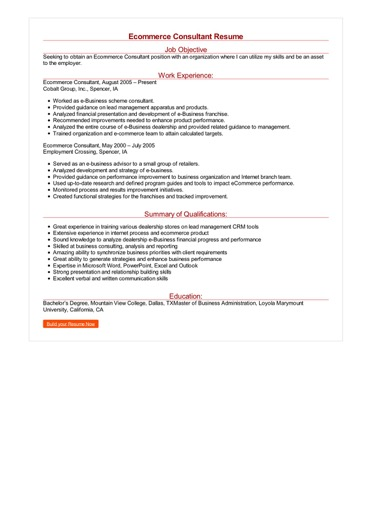 Ecommerce Consultant Resume Great Sample Resume