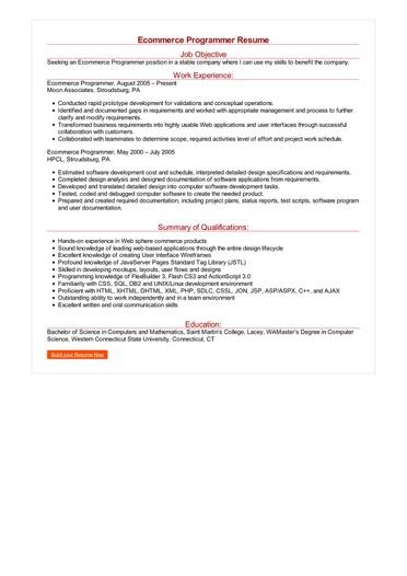 Ecommerce Programmer Resume Great Sample Resume