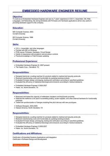 Embedded Hardware Engineer Resume Great Sample Resume